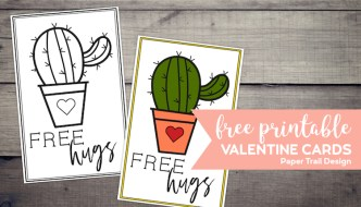 "Black and white cactus valentine card and a colored in cactus valentine card with words ""free hugs"" with text overlay- free printable valentine cards."