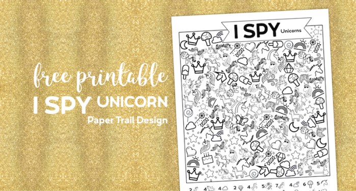Unicorn I spy activity page printable on a gold background with text overlay- free printable I spy unicorn