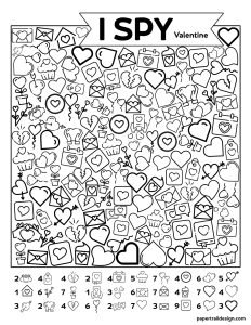 I spy activity page with different valentine hearts to find