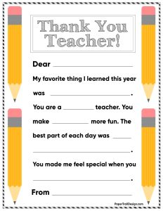 Personalized teacher thank you card printable
