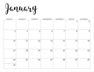 2021 Calendar Printable Free Template | Paper Trail Design