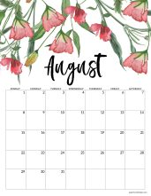 August 2021 Floral Calendar page with pink flowers