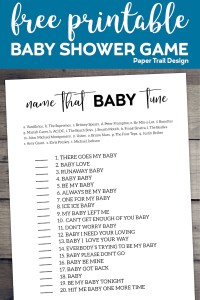 Name that baby tune game on wood background with text overlay- free printable baby shower game.