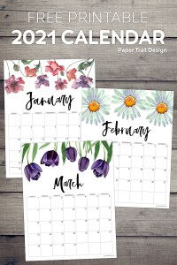 2021 floral January, February, and March calendar pages from January to December with text overlay- free printable 2021 calendar