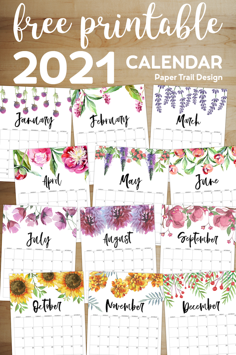 It seems like everyone is busier these days, and keeping up with everything from work deadlines to kids' sports practices to your pet's vet appointments can make things complicated — there's a lot to juggle, after all. Free Printable Calendar 2021 - Floral   Paper Trail Design