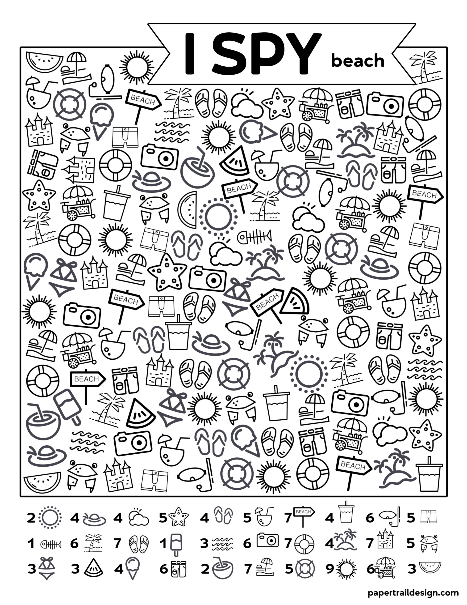 Free Printable I Spy Beach Activity