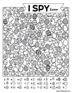 Easter themed I spy activity with various pictures of Easter eggs, bunnys, chicks, and flowers.