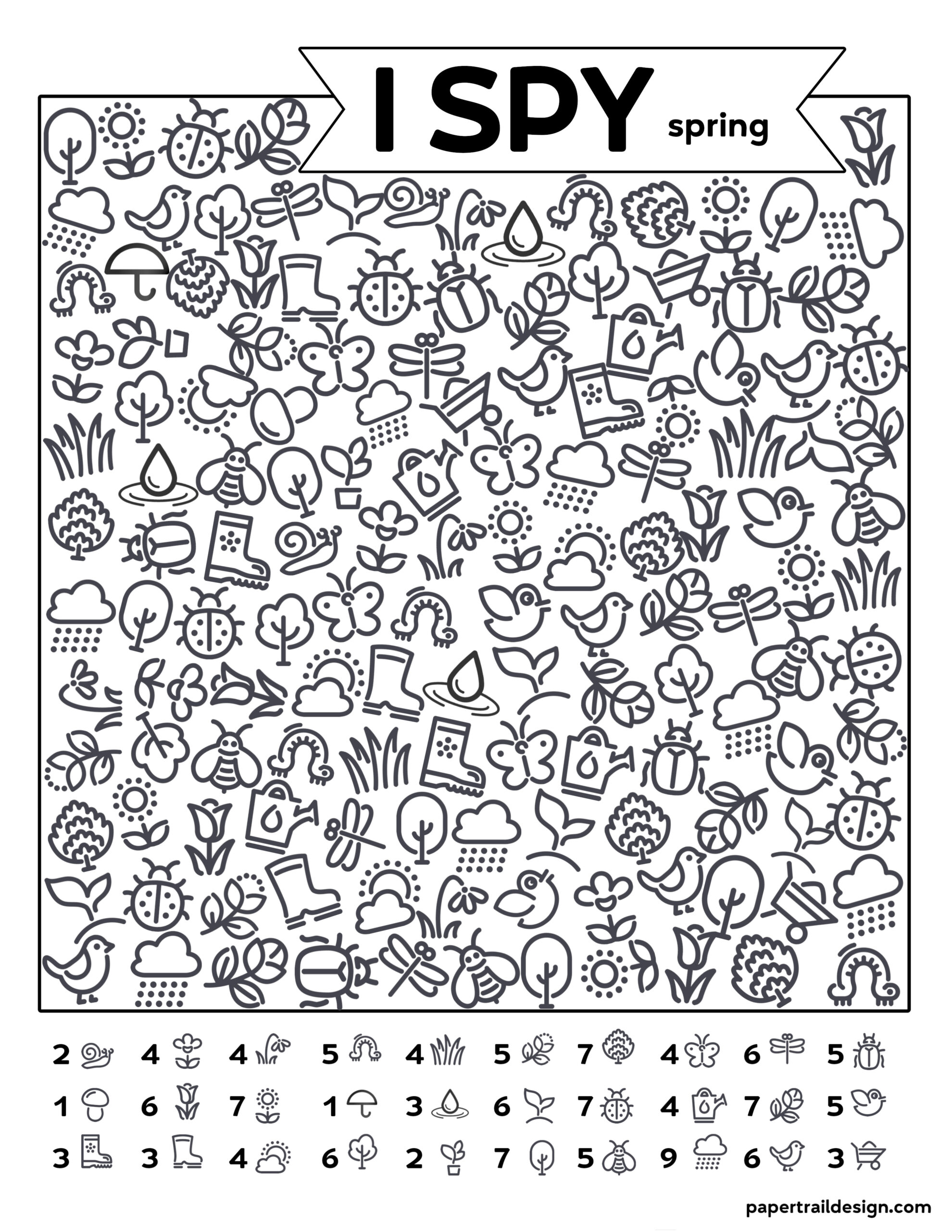 Free Printable I Spy Spring Activity