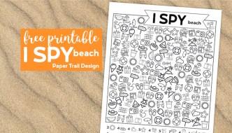 I spy beach themed kids activity on sand background with text overlay free printable I spy beach