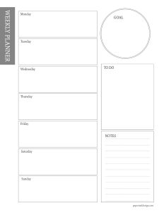 Simple black and white weekly planner page printable with text overlay- free printable weekly planner