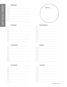 To-do list for each day of the week and a place to write your goal on a printable page