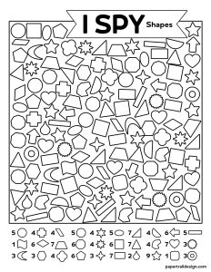 Printable I spy activity page with geometric shapes