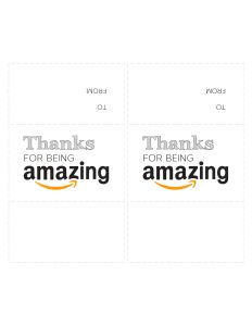 """Amazon card printable cutout with two cards that say """"Thanks for being amazing"""""""