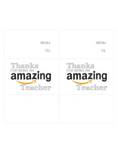 """Amazon card printable cutout with two cards that say """"Thanks for being an amazing teacher"""""""