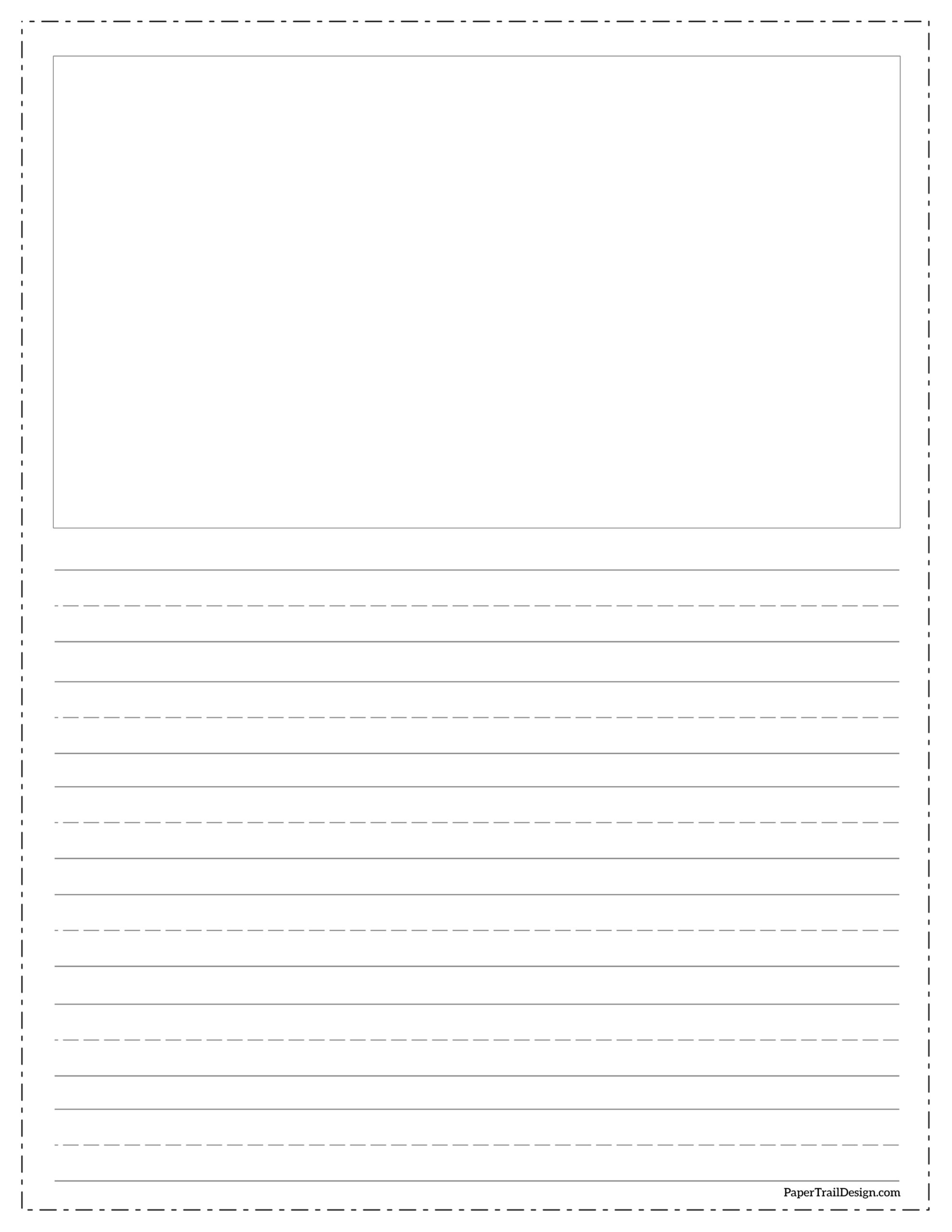Free Printable Lined Writing Paper With Drawing Box