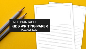 Lined writing paper with a drawing box on yellow background with two pencils with text overlay- free printable kids writing paper