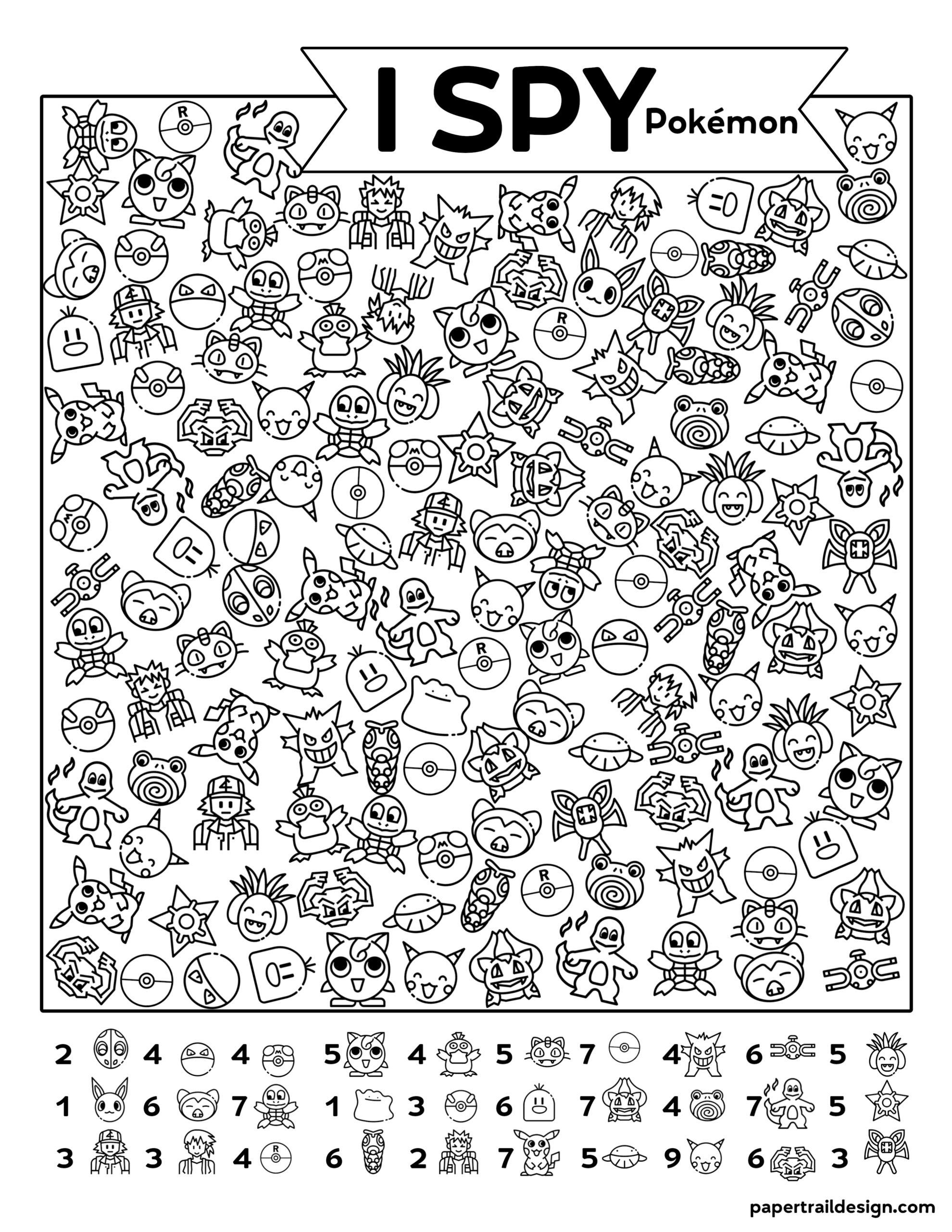 Free Printable I Spy Pokemon Activity