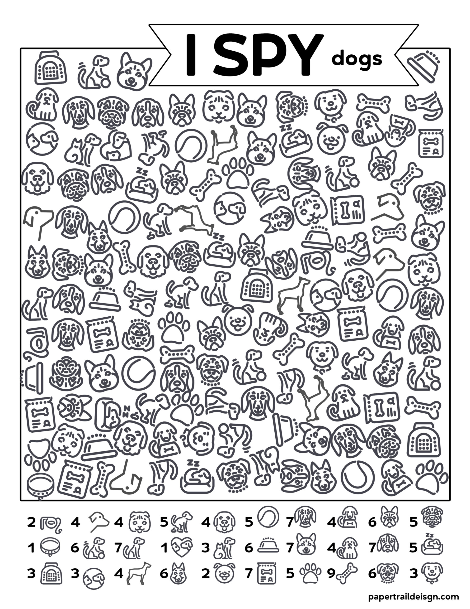 Free Printable I Spy Dogs Activity