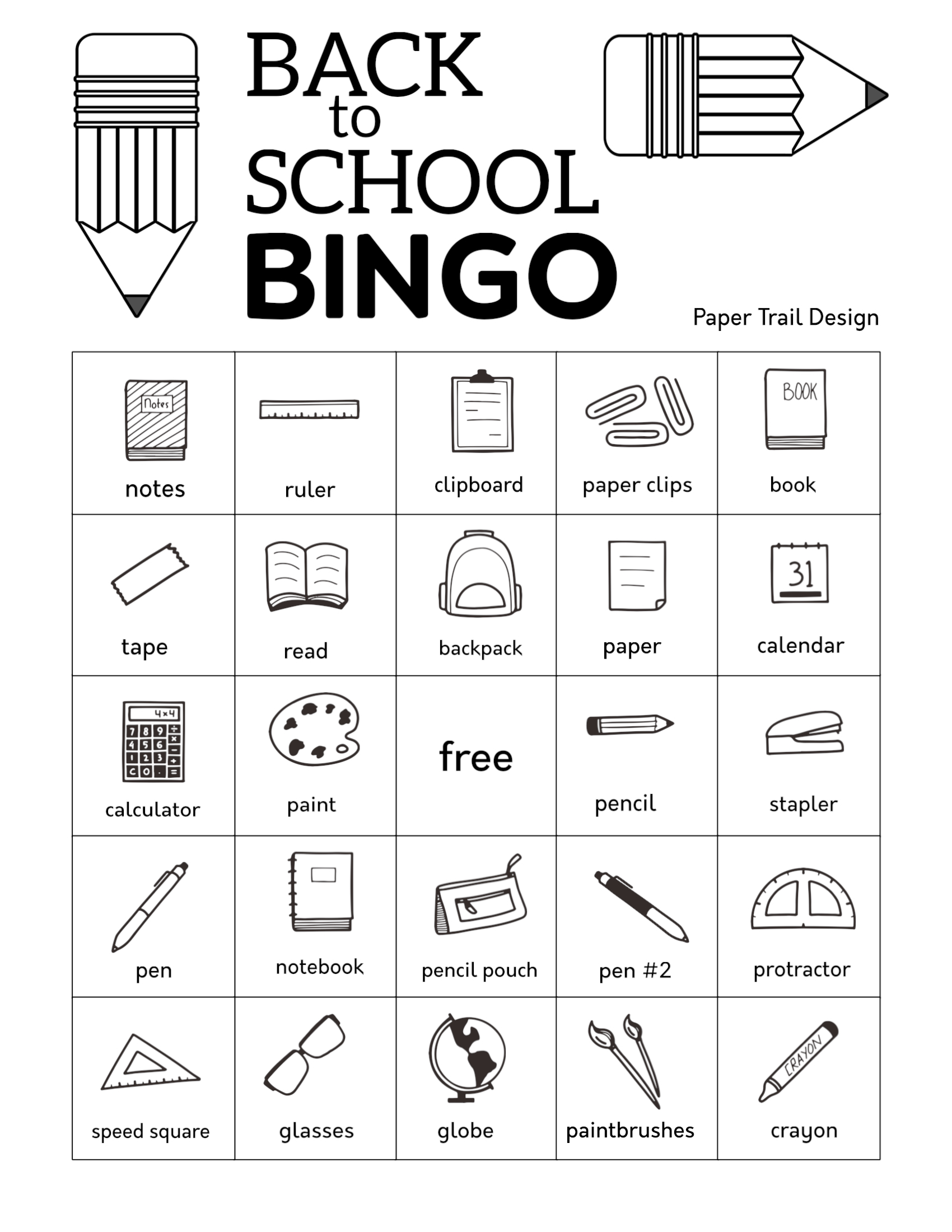Free Printable Back To School Bingo