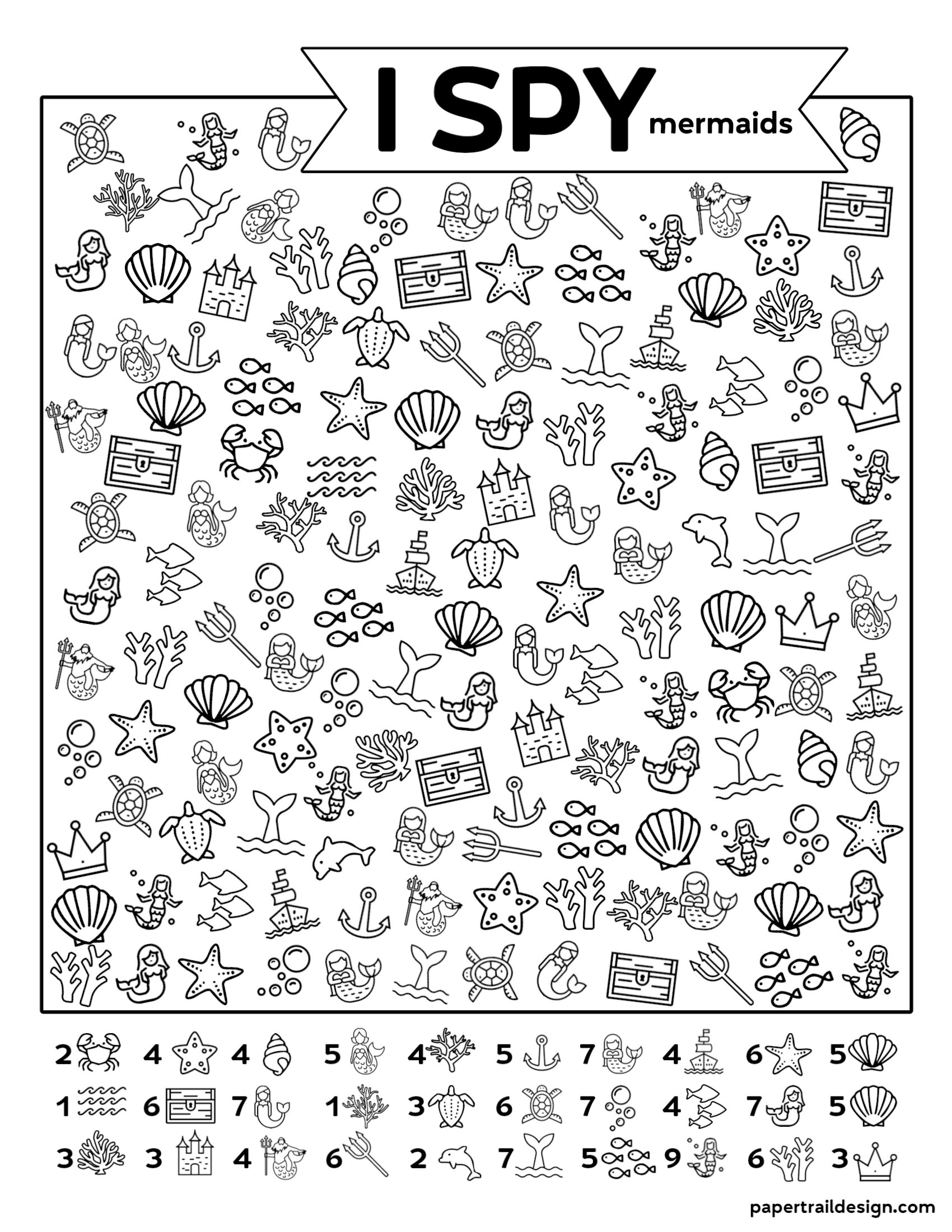 Free Printable I Spy Mermaids Activity