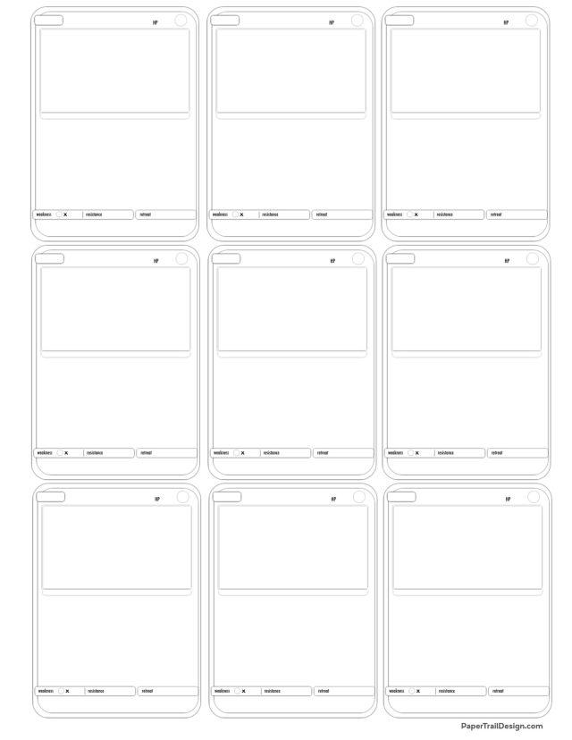 Pokémon Card Template Free Printable  Paper Trail Design