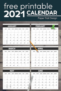Big monthly calendar pages in 8.5 x 11 with pencil and clip with text overlay- free printable 2021 calendar
