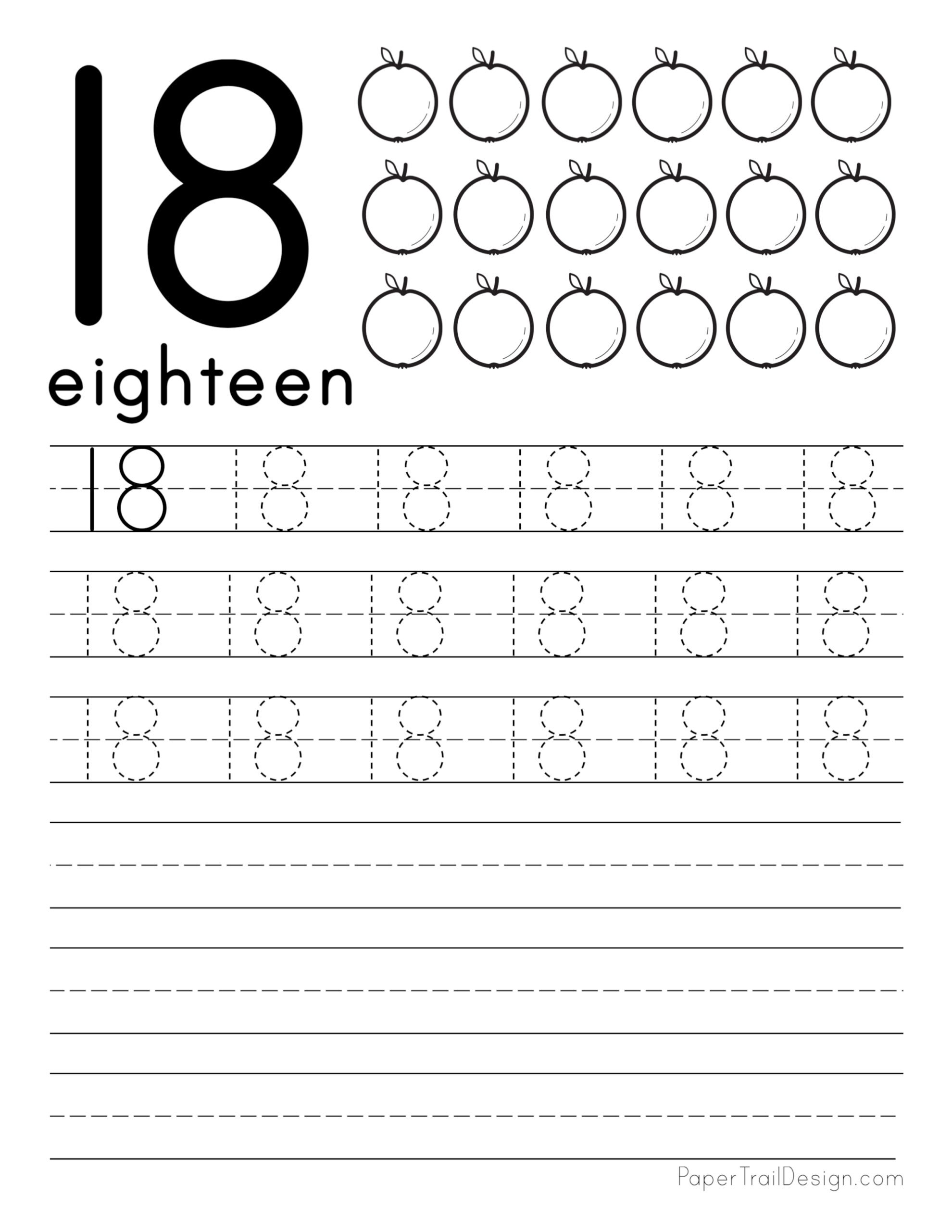 Free Number Tracing Worksheets