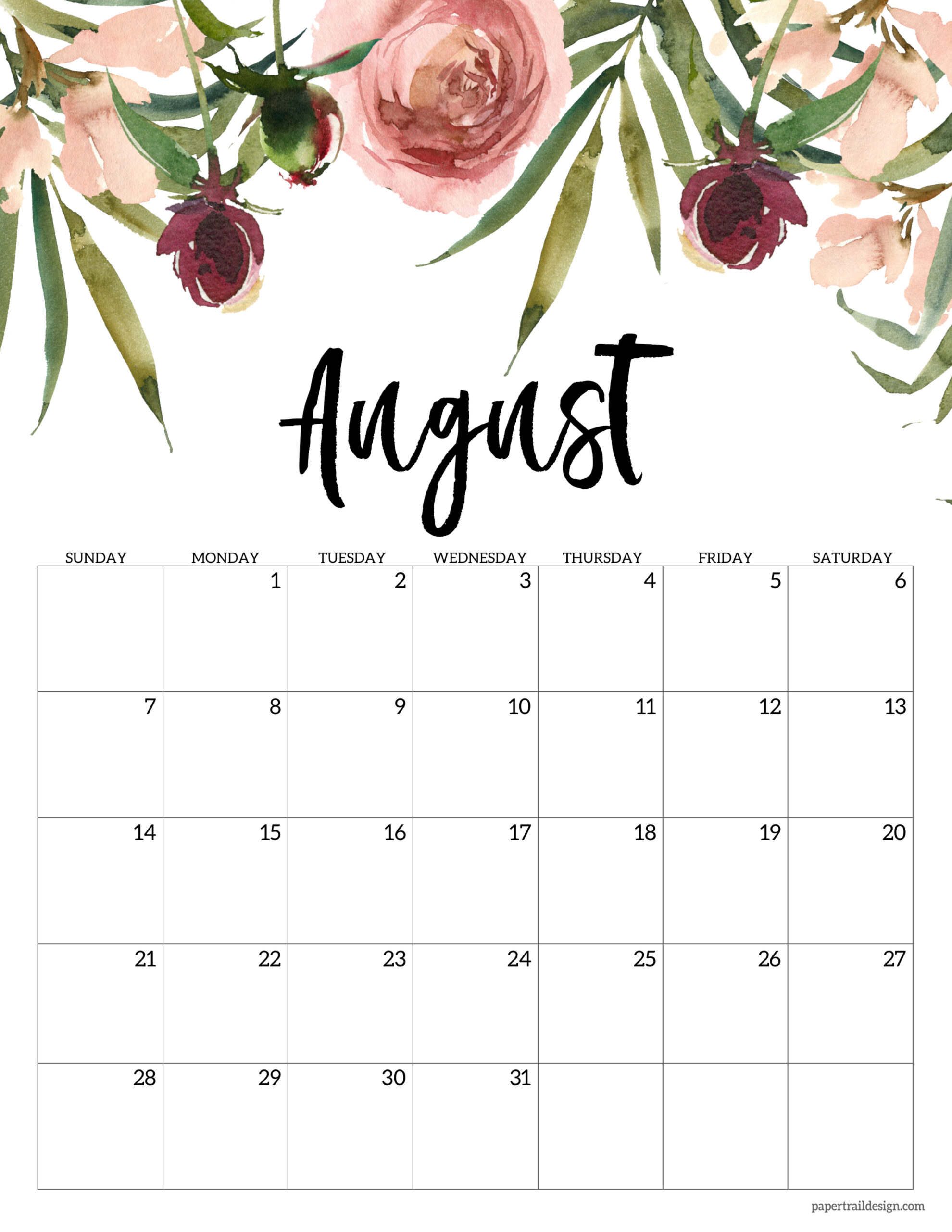Sometimes it is handy to have a calendar for your current month on your cubical wall. Free 2022 Calendar Printable - Floral | Paper Trail Design