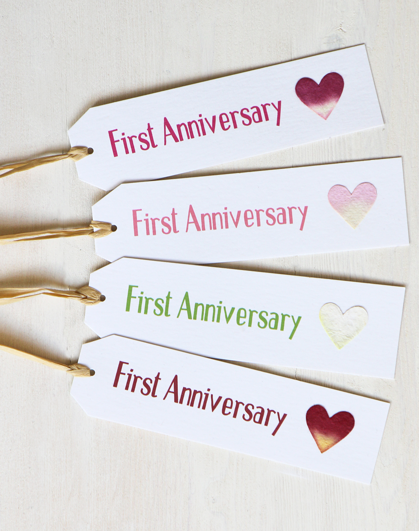 First Anniversary Gift Tag 1st Wedding Anniversary