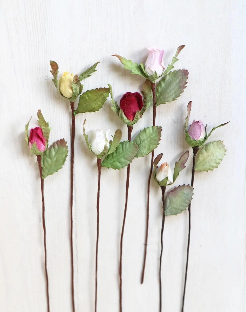 Mini Paper Rosebuds Craft Scrapbook Card Making