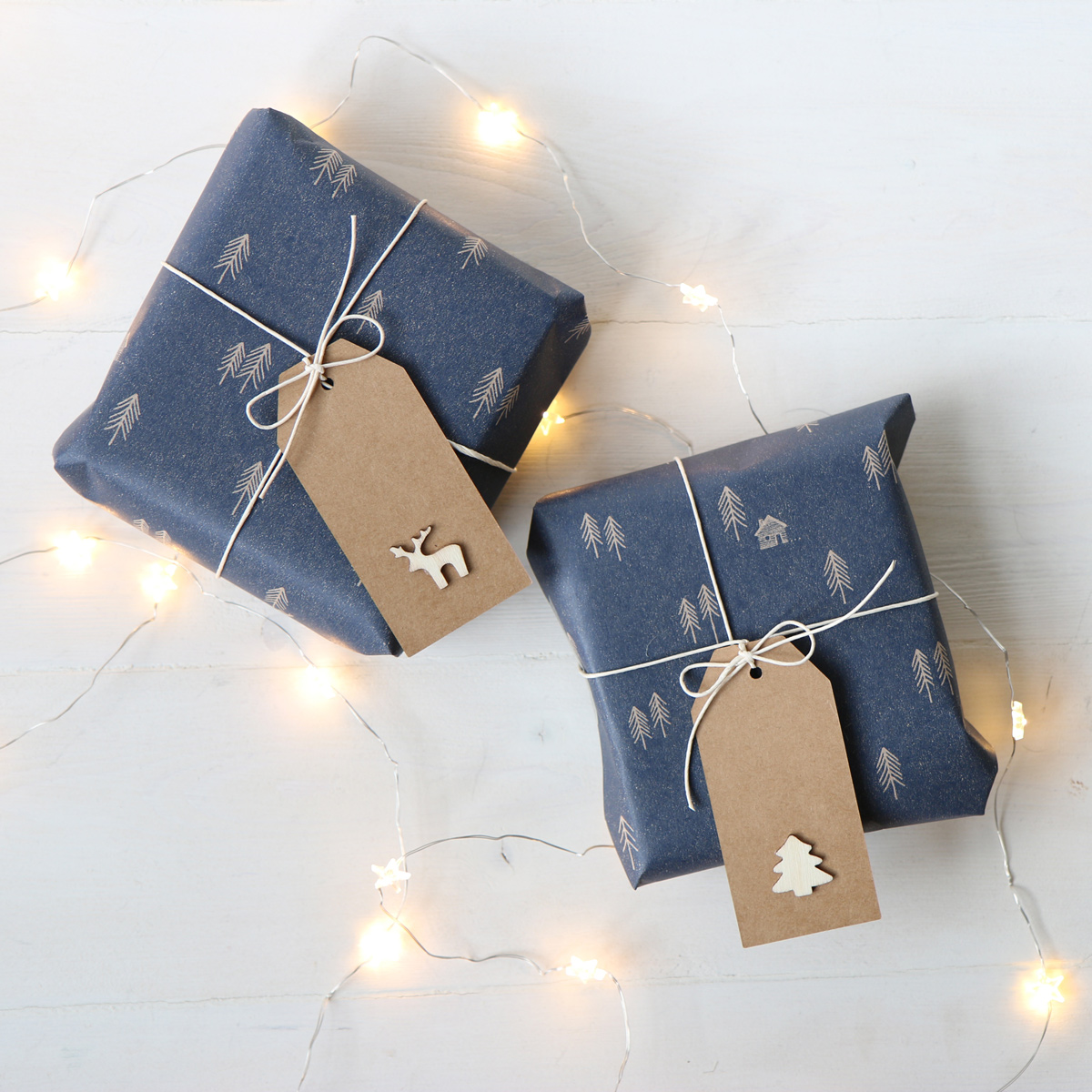 Rustic Christmas Wrapping Paper Blue Wrap From Paper Tree