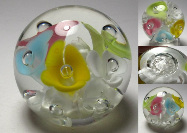Rare St Clair Glass Paperweight Multicolored Flowers - Year
