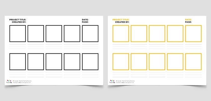 graphic regarding Printable Storyboard named Blank Storyboard Templates - PAPERZIP