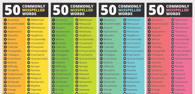 most misspelled words for adults