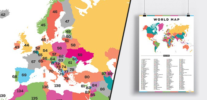 World map with numbers paperzip world map with numbers gumiabroncs Image collections