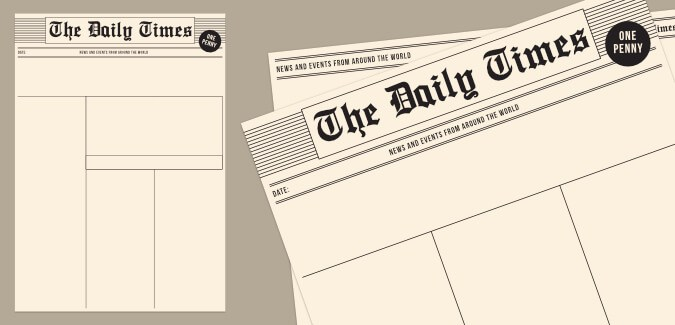 Old newspaper template paperzip old newspaper template blank pronofoot35fo Images