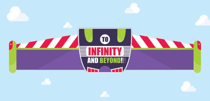 A Colourful Banner Illustrating Buzz Lightyears Famous Quote From Toy Story The Is Split Across Three A4 Pages Great For Inspiration Or As An
