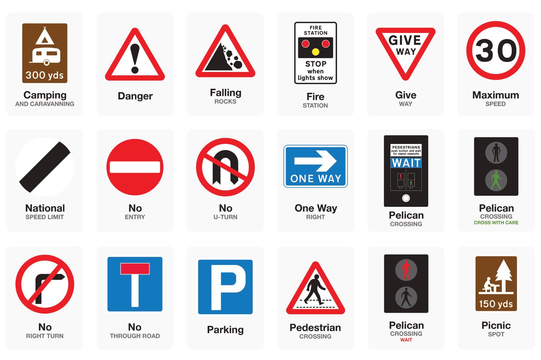basic uk road signs