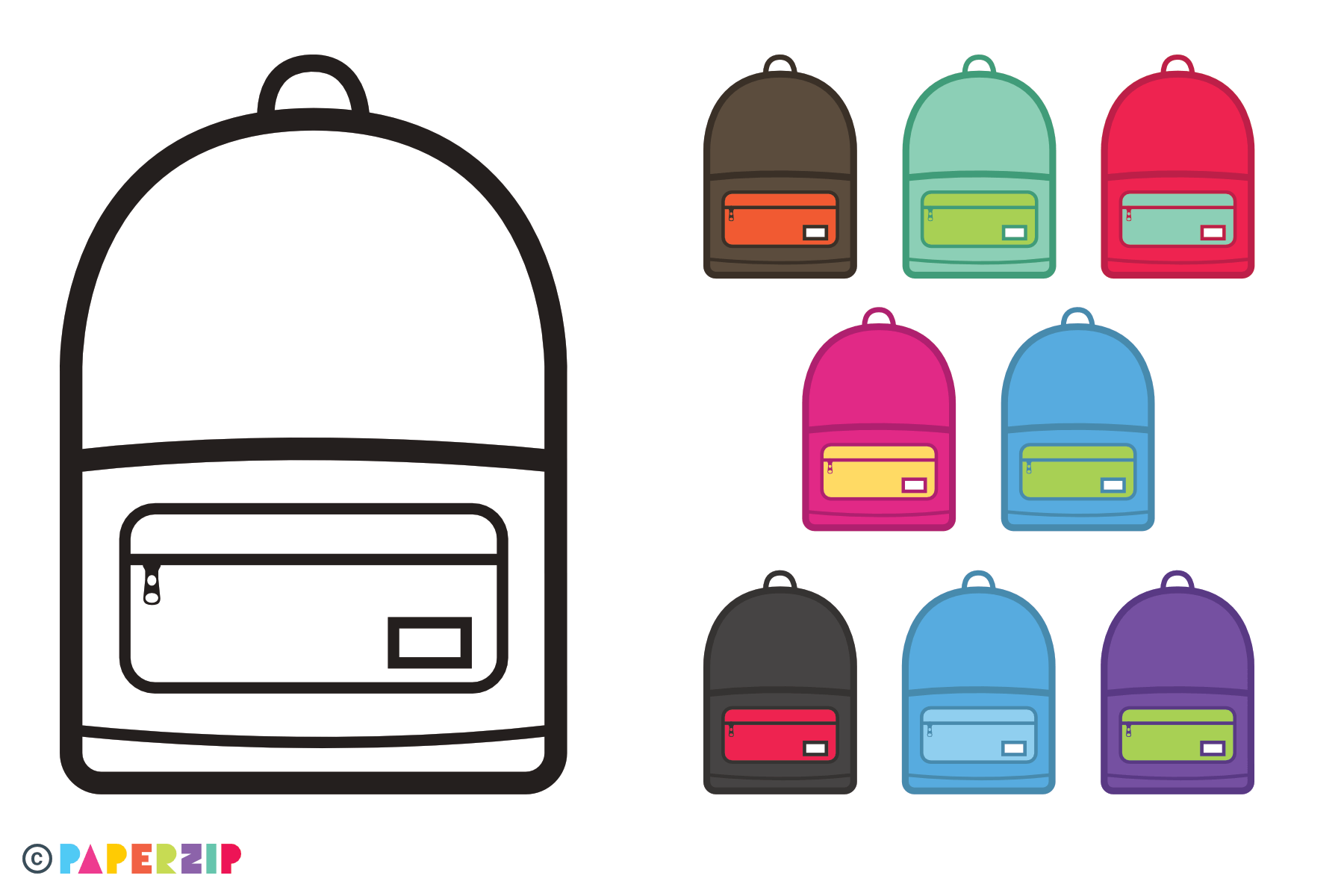 rucksack icons for colouring in schools