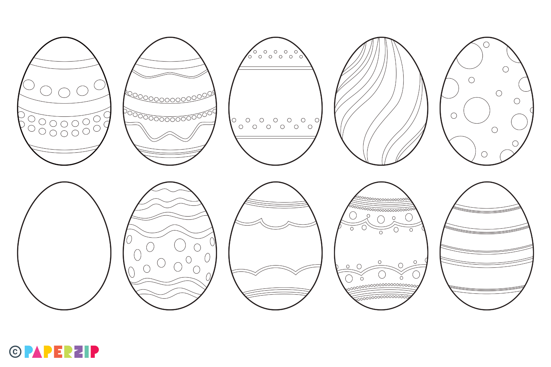 picture regarding Easter Egg Template Free Printable named Blank Easter Eggs - PAPERZIP