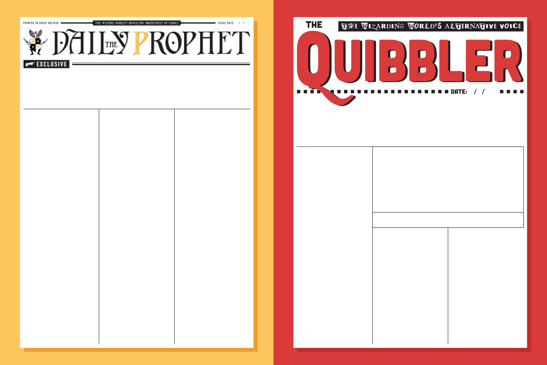 image relating to Printable Newspaper Template titled Harry Potter Newspaper Templates - PAPERZIP