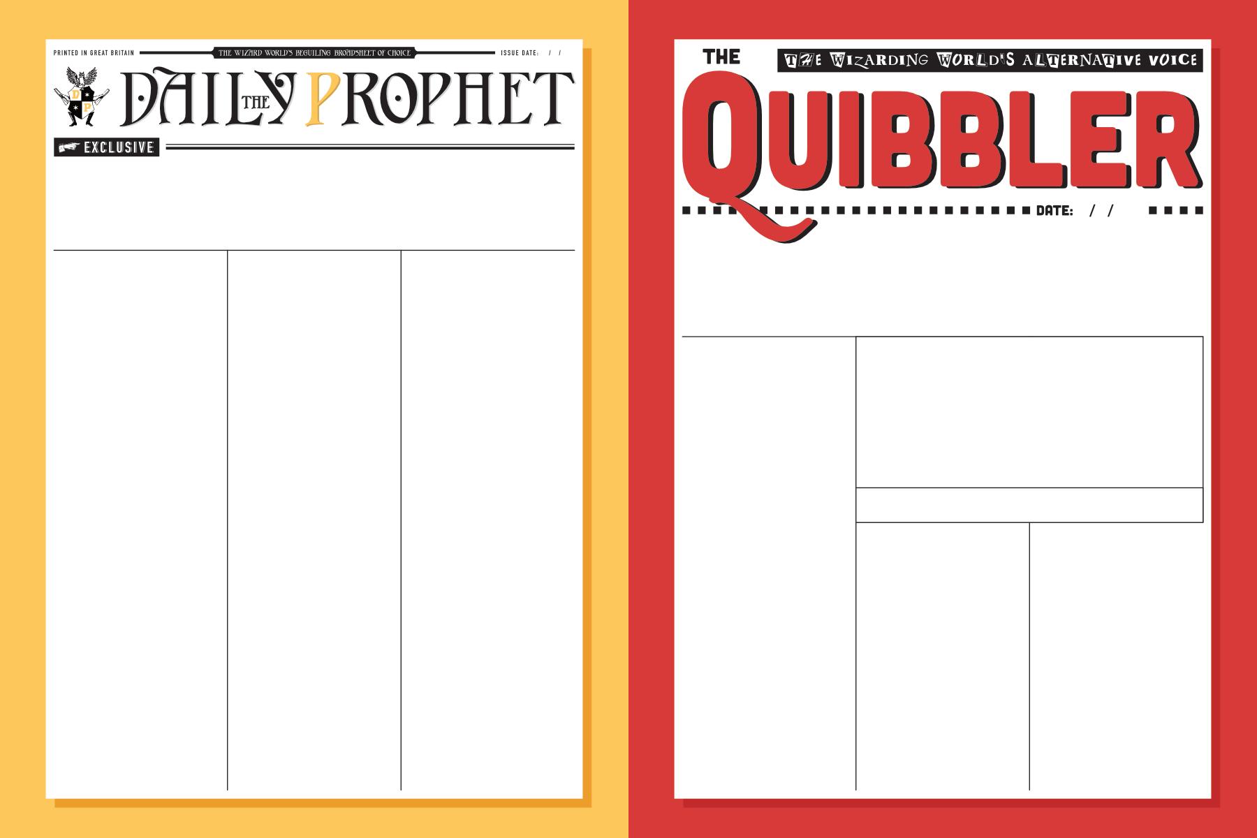 Harry Potter Newspaper Templates Paperzip
