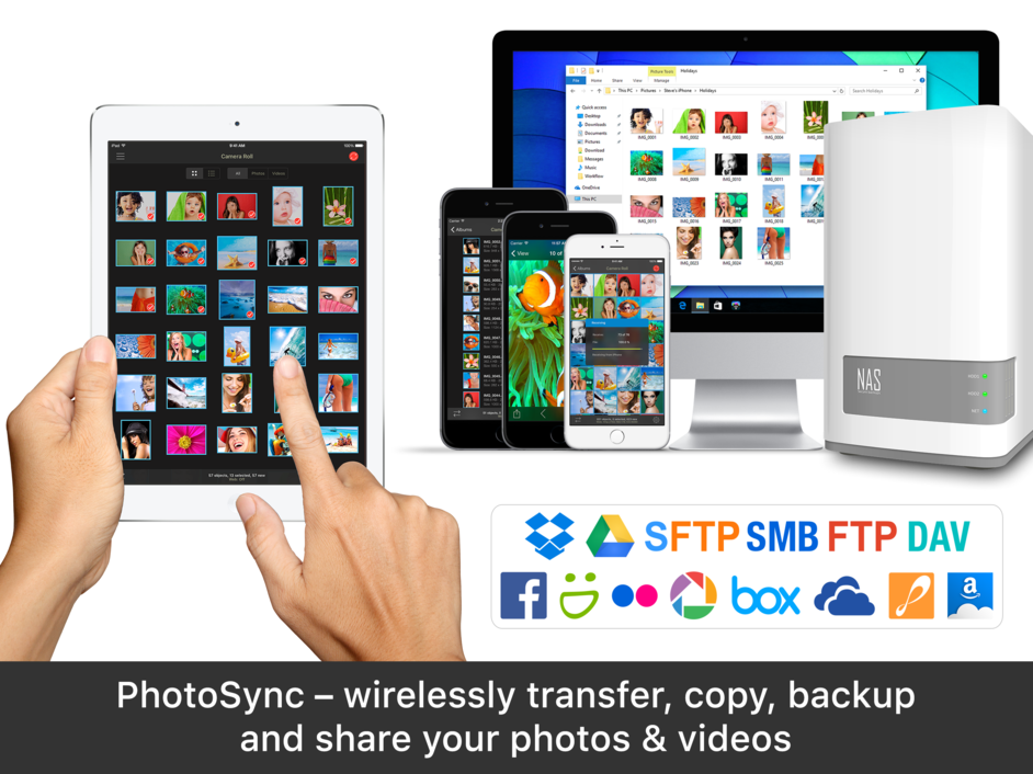 transfer photos between devices wirelessly photosync