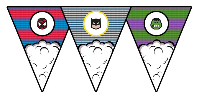 photo regarding Free Printable Superhero called Superhero Bunting - PAPERZIP