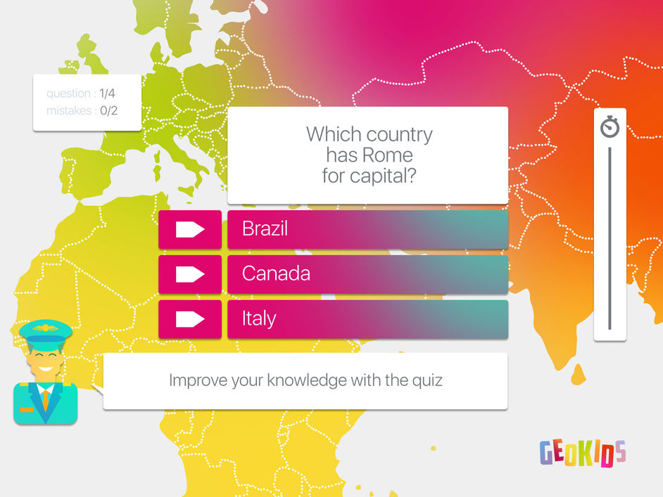 Geokids is a colourful geography maps app for learning about the tests your knowledge on world geography users learn and discover new places and facts by travelling around the map answering questions as they go gumiabroncs Choice Image