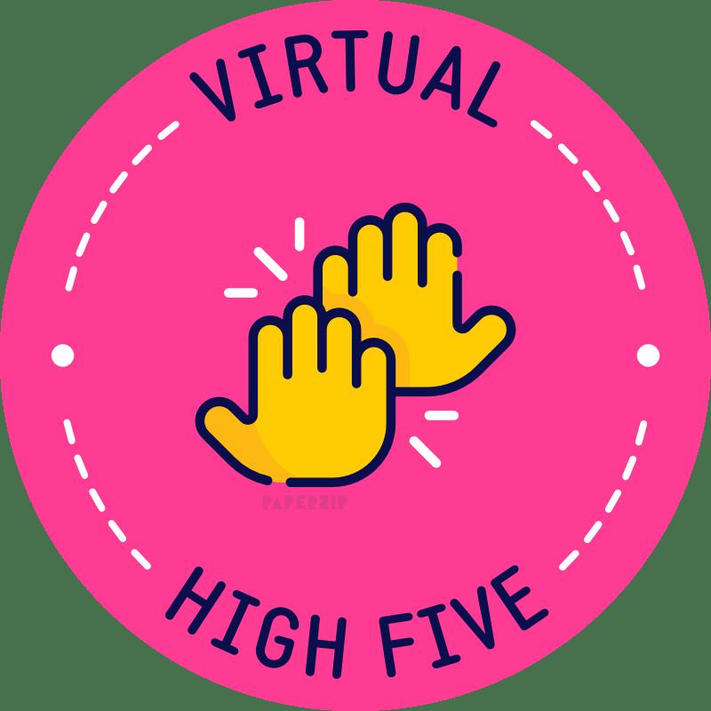 virtual high 5 pink sticker