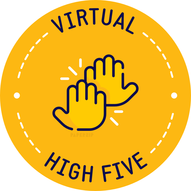 virtual high 5 yellow sticker