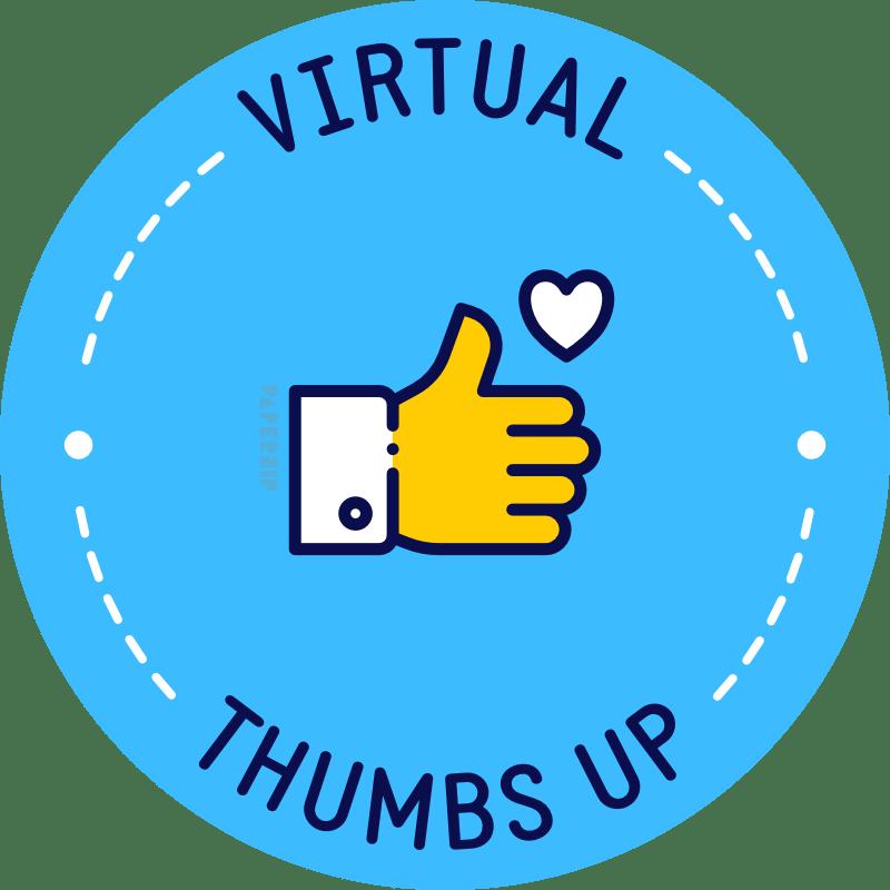 virtual thumbs up blue sticker