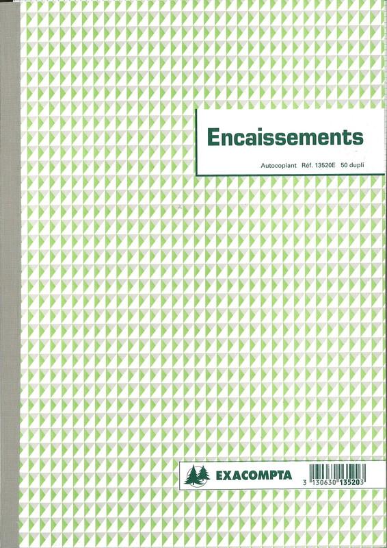 Carnet Des Encaissements De Marque Exacompta Contenant 50