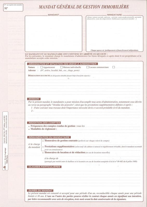Mandat Immobilier Tissot Pour La Gestion Disponible En